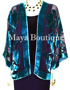 Aqua & Black Silk Burnout Velvet Jacket Short Kimono No Fringe Maya Matazaro