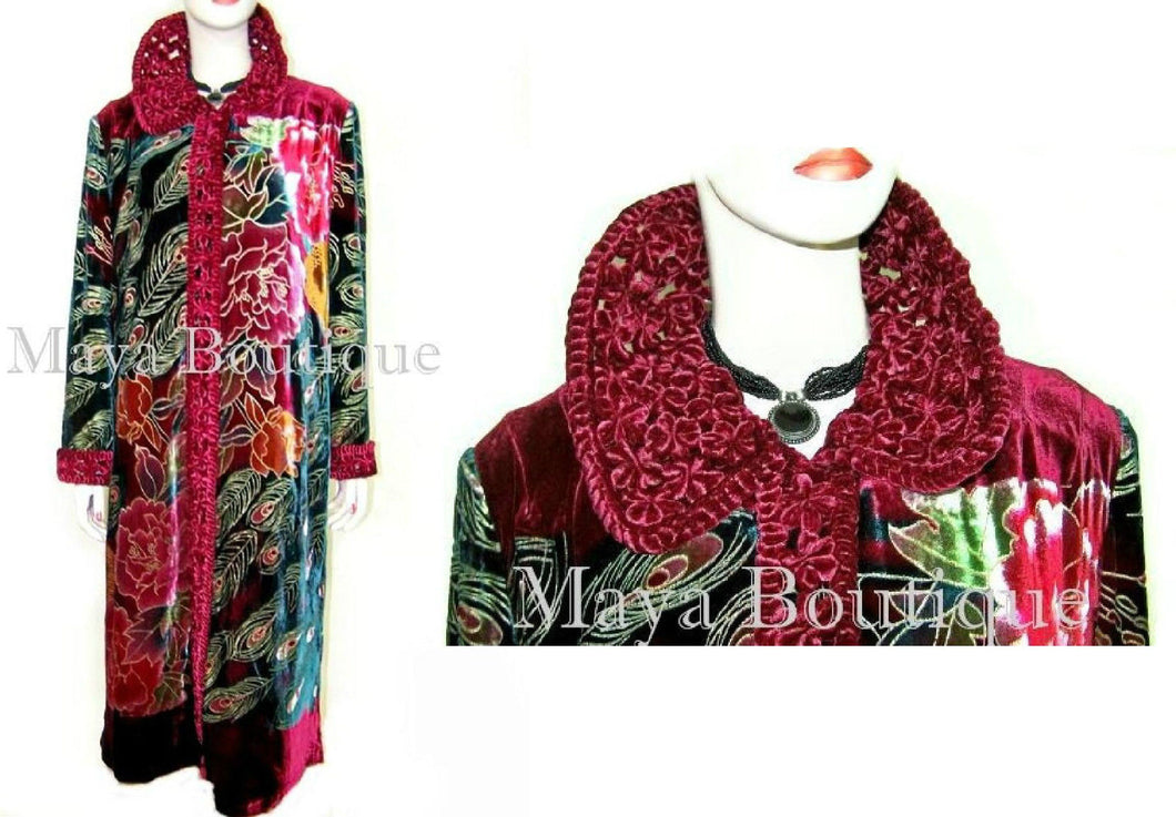 Silk Velvet Opera Coat Duster RED Multi Peacock Design Wearable Art Long 2X / 3X