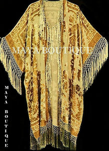 Antique Gold Silk Burnout Velvet Fringe Jacket Kimono Duster Maya Matazaro Plus