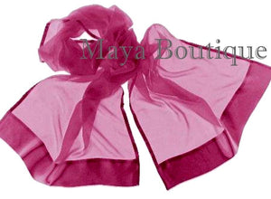 MAYA WINE CHIFFON SILK SHAWL SCARF WRAP SATIN BORDER