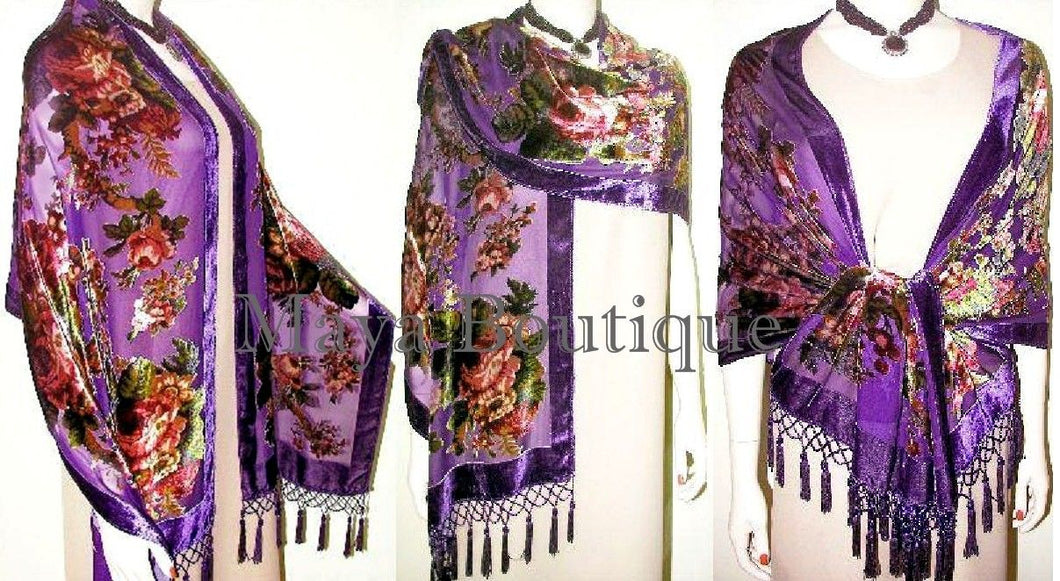 Silk Velvet Wrap Scarf Shawl Purple English Rose Beaded Maya Matazaro
