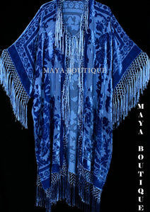 Royal Blue Kimono Duster Fringe Jacket Silk Burnout Velvet Maya Matazaro Plus
