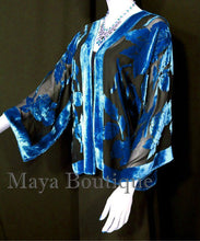 Silk Burnout Velvet Jacket Short Kimono Blue & Black No Fringe Maya Matazaro
