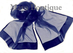 CHIFFON SILK SHAWL SCARF WRAP SATIN BORDER NAVY BLUE MAYA