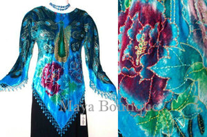 Burnout Silk Velvet Top Blouse Beaded Peacock Turquoise Maya Matazaro