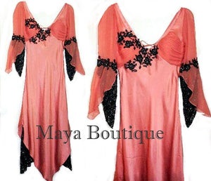 SILK CHIFFON SATIN BEADED LACE DRESS VICTORIAN STYLE SMALL-MEDIUM Maya Dresses