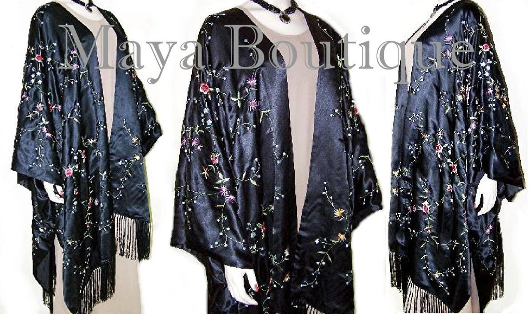 Caftan Kimono Duster Embroidered Silk Charmeuse Fringed & Lined NEW MAYA
