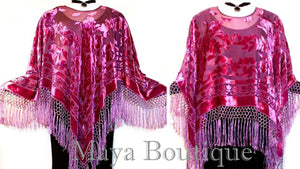 SILK PONCHO SHAWL TOP VELVET DELICIOUS RASPBERRY NEW WT MAYA HAND DYED