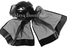 Black Silk Chiffon Scarf Shawl Wrap Satin Border Maya Matazaro + Gift Box