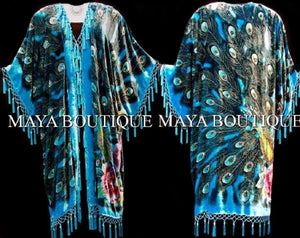 Kimono Opera Coat Duster Beaded Silk Burnout Velvet Peacock Turquoise MAYA PLUS
