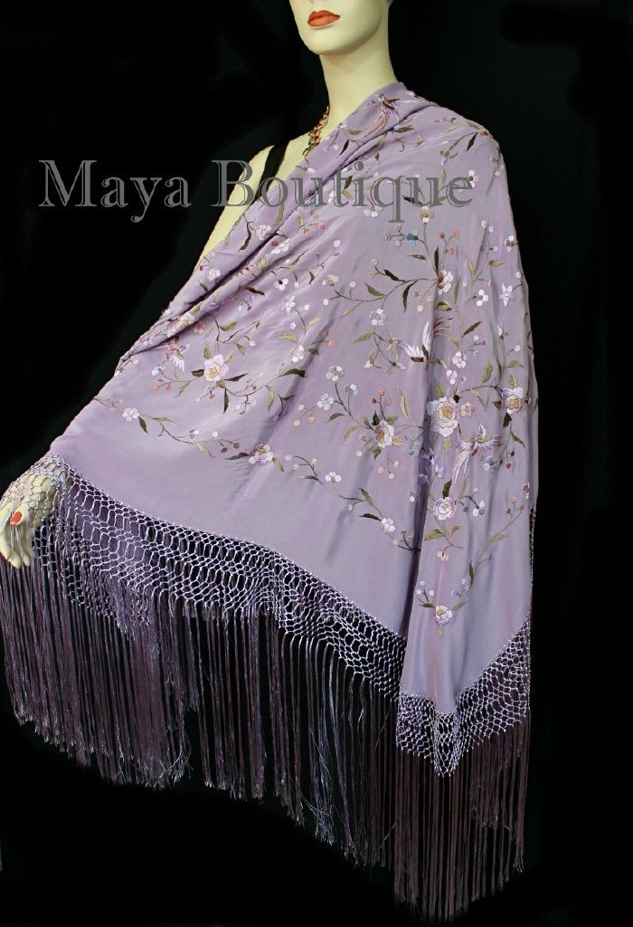 Flamenco Embroidered Silk Piano Shawl Wrap Lilac Multi Flower & Birds 84
