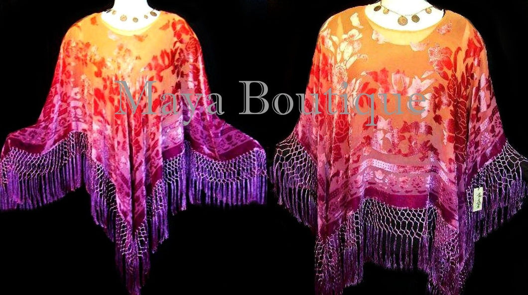 Maya Matazaro Dyed Poncho Shawl Top Magenta & Coral Silk Burnout Velvet USA Made