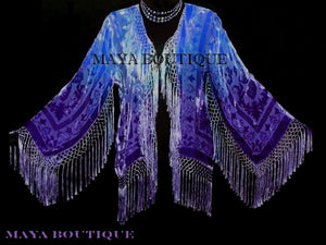Blue & Purple Burnout Velvet Fringe Jacket Kimono Short Hand dyed Maya Matazaro