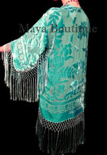 Maya Matazaro Silk Burnout Velvet Fringe Jacket Short Kimono Tiffany Green