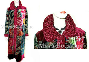 Opera Coat Duster Silk Velvet Red Multi PEACOCK Lined M / L Long Maya Matazaro