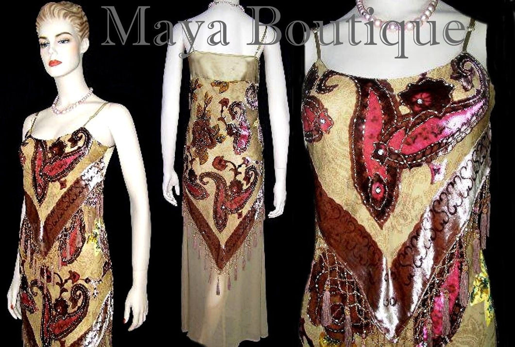 MAYA BEADED SILK DRESS FLAPPER STYLE BURNOUT VELVET PAISLAYS S