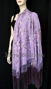 "Flamenco Embroidered Silk Piano Shawl Wrap Lilac Multi Flower & Birds 84"" Maya"