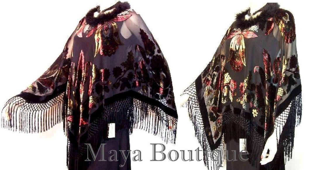 BURNOUT VELVET PONCHO SHAWL TOP CAPE ORIGINAL MAYA MATAZARO FEATHERS TRIM