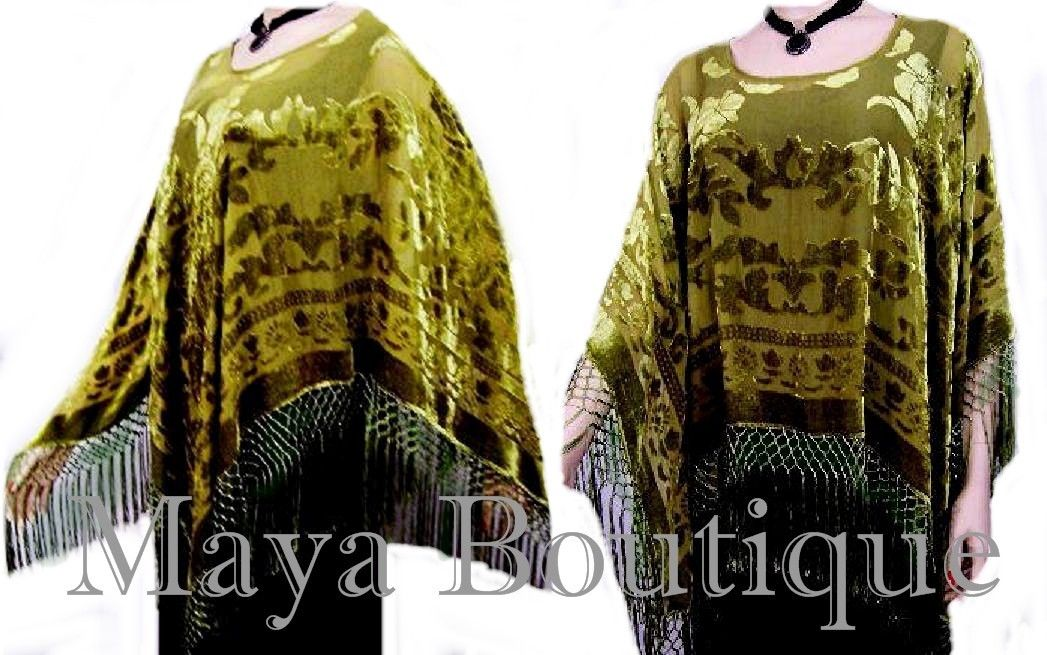 OLIVE GREEN SILK BURNOUT VELVET PONCHO SHAWL TOP MAYA MATAZARO