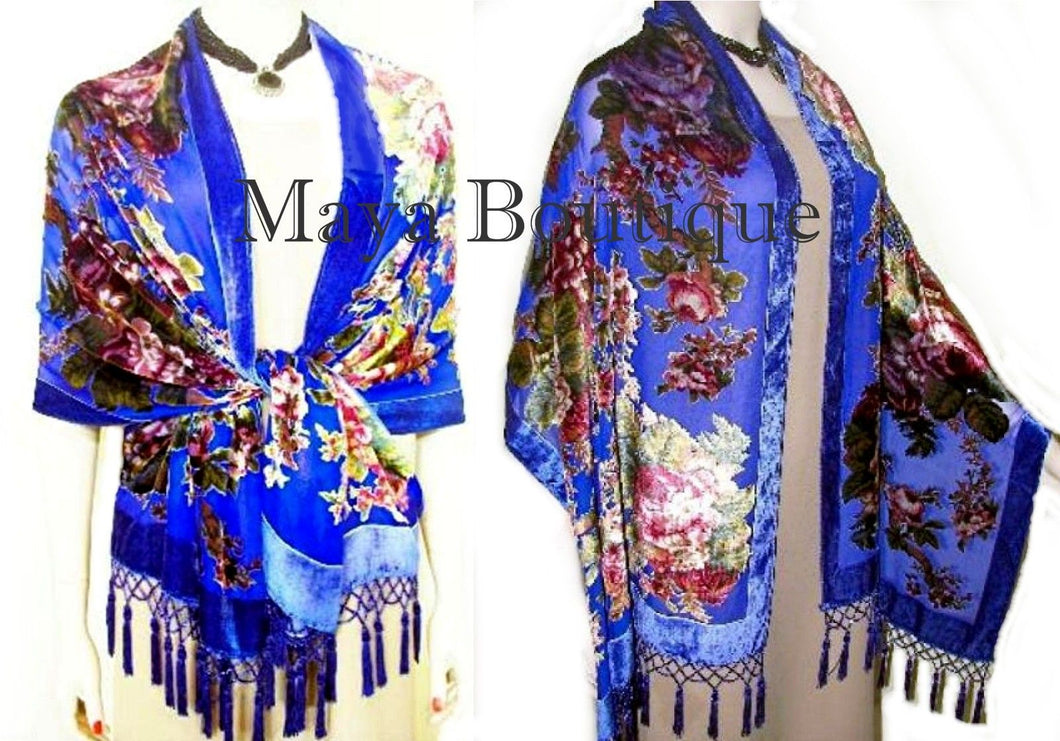 BLUE ENGLISH ROSE SILK WRAP SCARF SHAWL BEADED FRINGES MAYAS BOUTIQUE