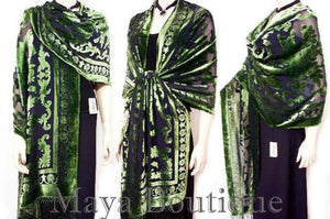 Maya Matazaro Silk Opera Shawl Wrap Scarf Burnout Velvet Green Oblong XL 110""