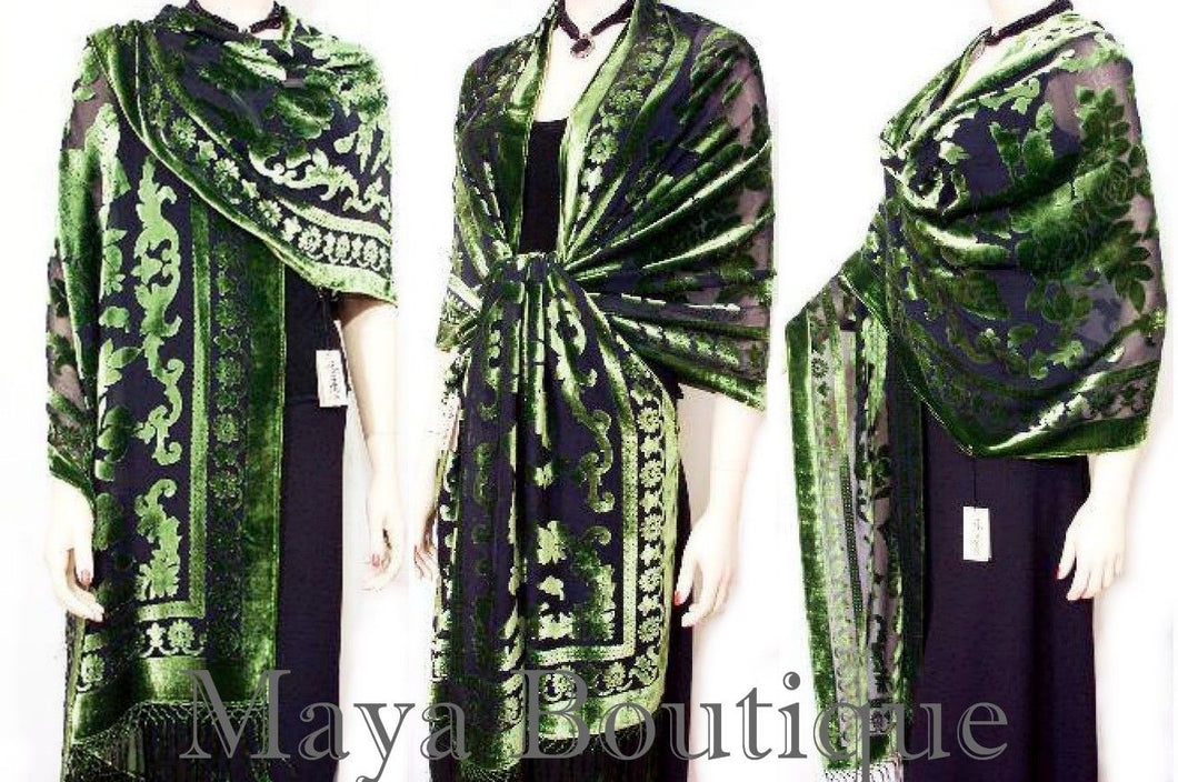 Maya Matazaro Silk Opera Shawl Wrap Scarf Burnout Velvet Green Oblong XL 110