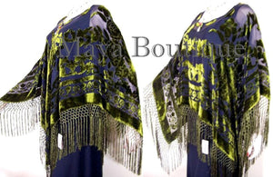 Silk Burnout Velvet Poncho Shawl Top Black & Olive Green Maya Matazaro