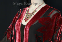 Poppy Red Silk Burnout Velvet Jacket Short Kimono Style No Fringe Maya Matazaro