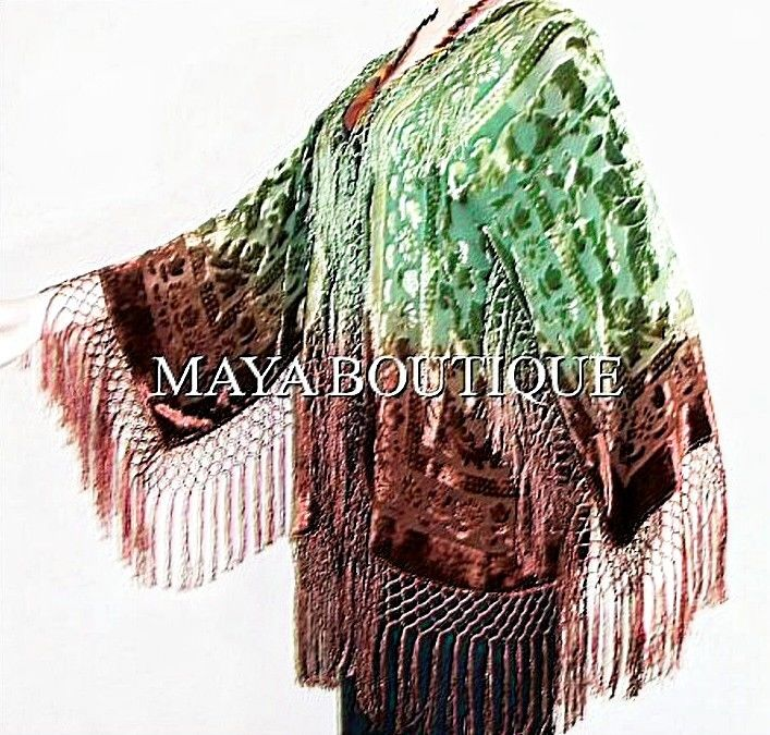 Burnout Velvet Fringe Jacket Kimono Short Hand dyed Maya Jacket Brown Green