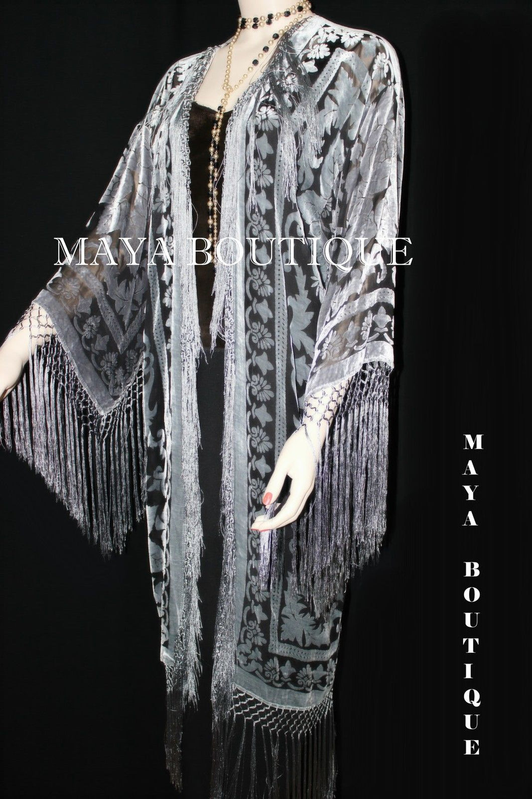 Silver & Black Silk Burnout Velvet Fringes Jacket Kimono Long Coat Maya Matazaro