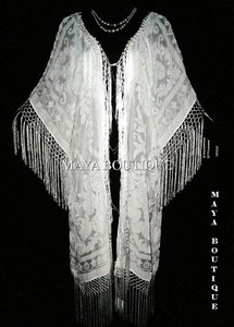 Silk Burnout Velvet Fringe Jacket Kimono IVORY NEW PLUS