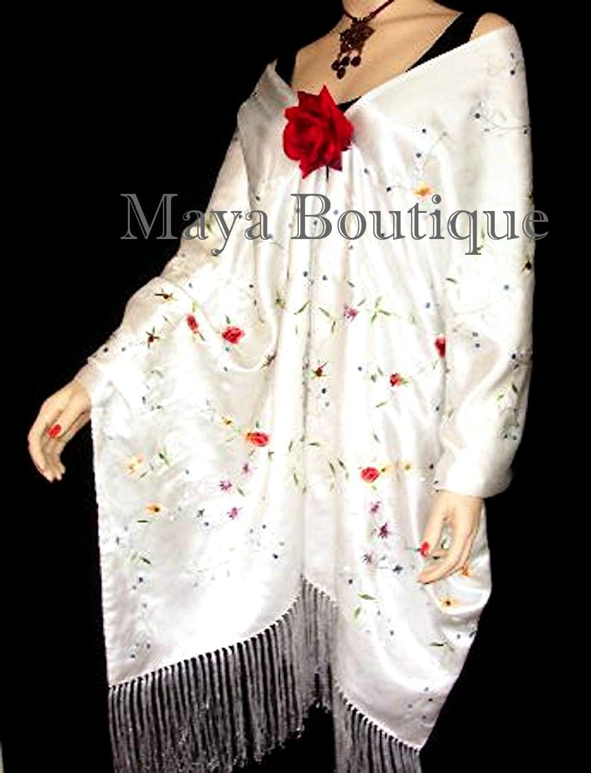 Huge Embroidered Silk Wrap Opera Shawl Scarf White Multi Floral Maya Embroidery