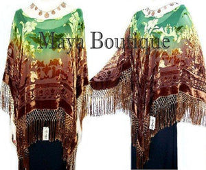 Dyed Silk Poncho Shawl Top Brown & Green Maya Matazaro