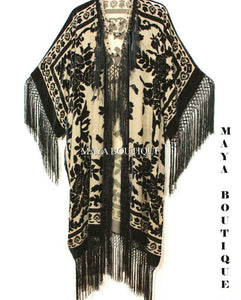 Fringe Jacket Kimono Duster Silk Burnout Velvet Taupe Black Maya Matazaro Plus