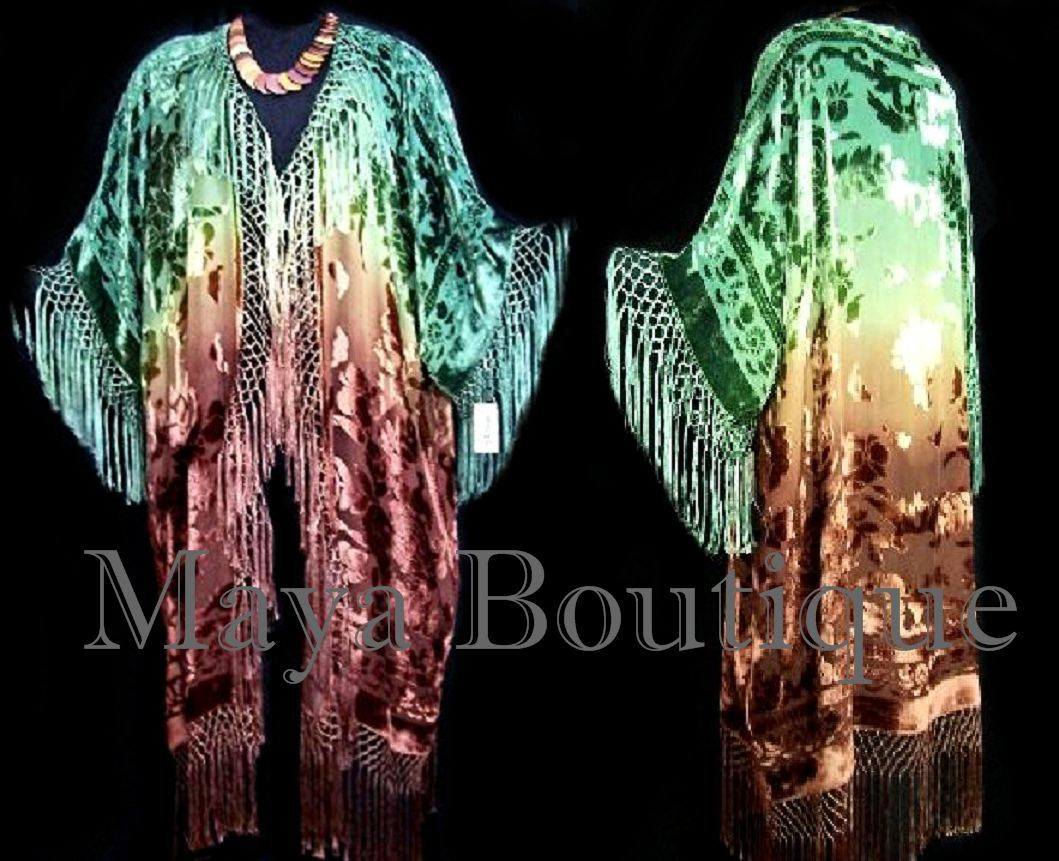 Silk Fringe Jacket Kimono Duster Caftan Hand Dyed by Maya Matazaro Green Brown