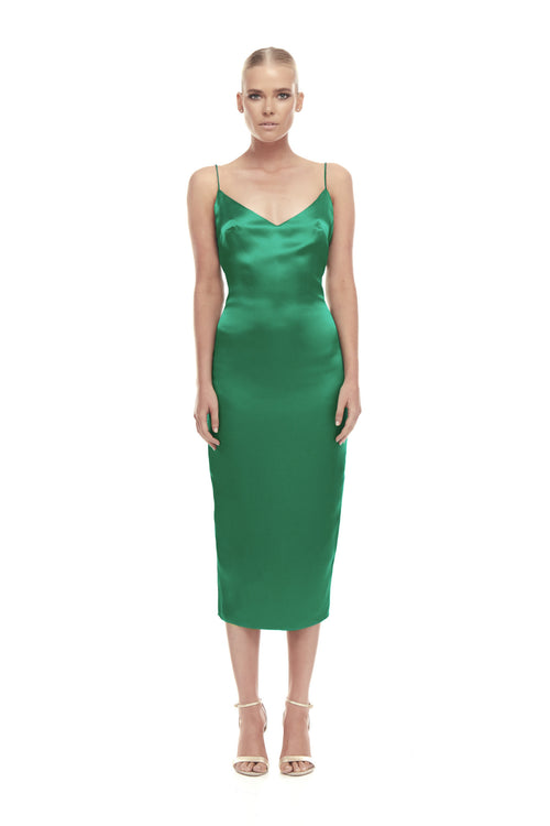 Aphrodite Silk Satin Dress - Kelly Green