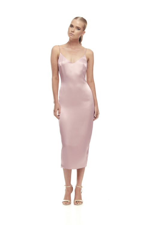 Aphrodite Silk Satin Dress - Dusty Pink