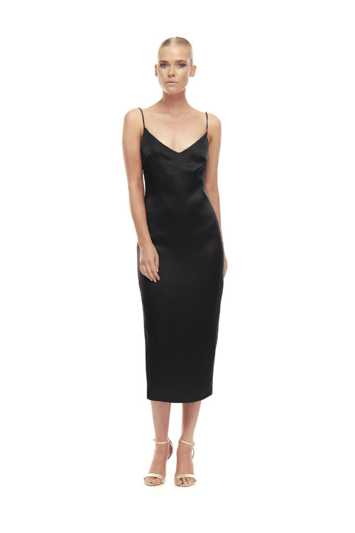 Aphrodite Silk Satin Dress - Black
