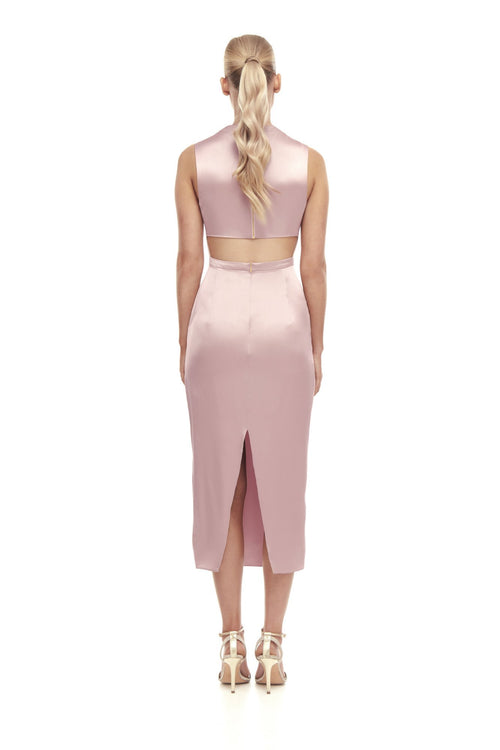 Aphrodite Silk Satin Cut Out Dress - Dusty Pink