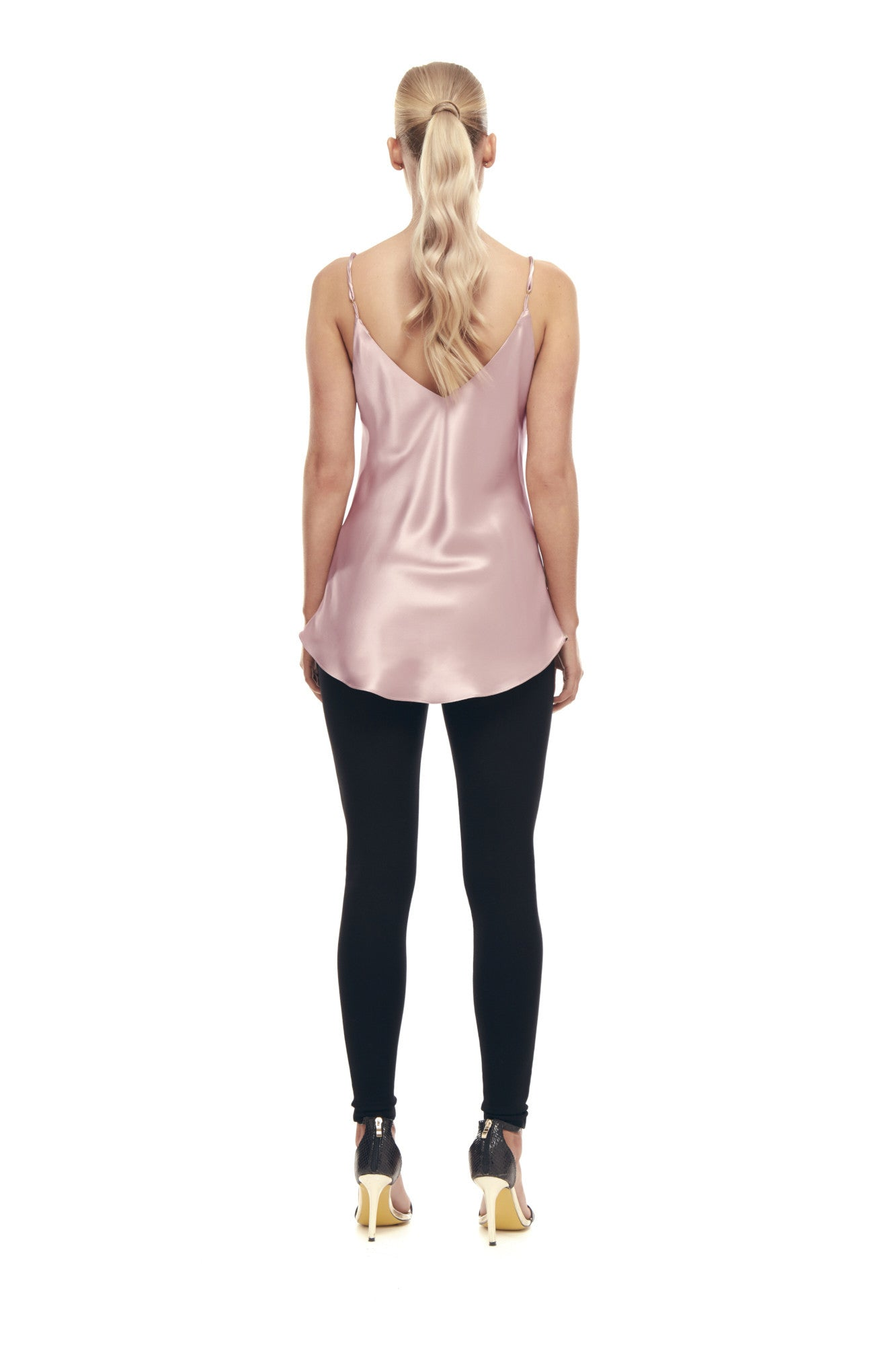 Aphrodite Silk Satin Top - Dusty Pink