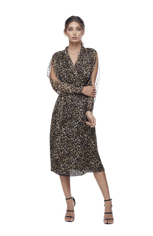 Queen of the Jungle Silk Wrap Midi Dress - Leopard