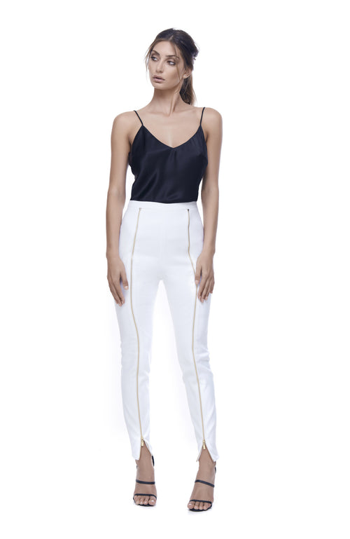 Key to the City White Zip Pant