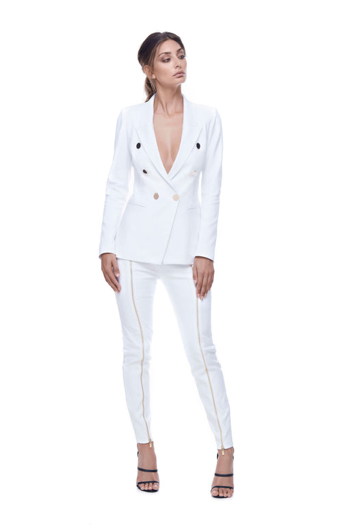 Key to the City White Double Breasted Jacket