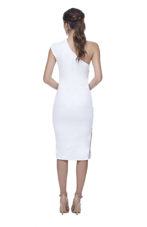 Key to the City White One Shoulder Dress