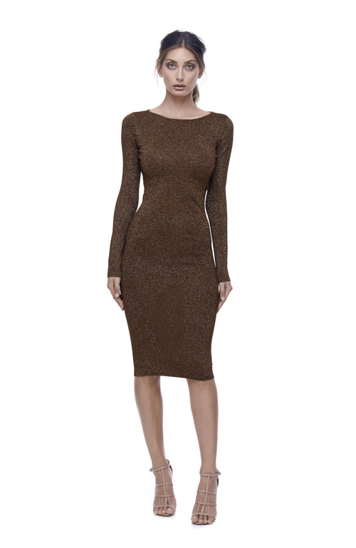 Astrologia Knit Dress - Rust Metallic