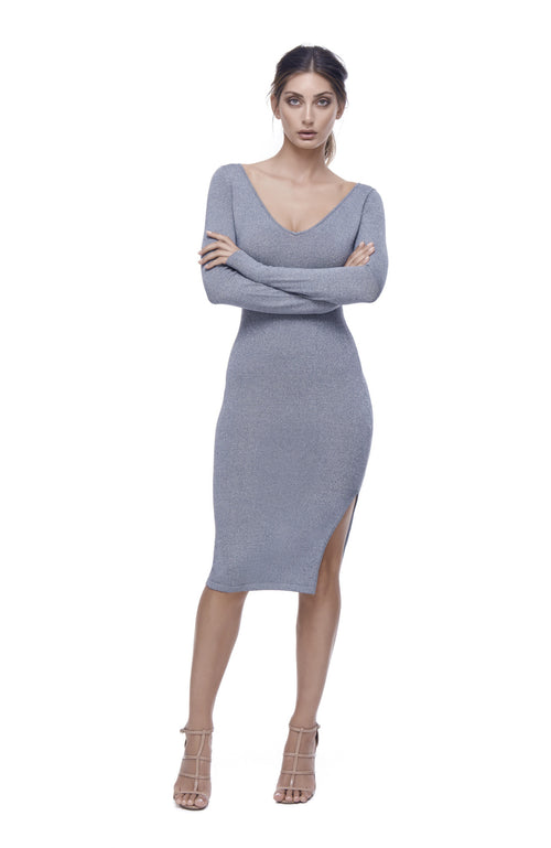 Astrologia Knit V-Neck Dress - Grey Metallic