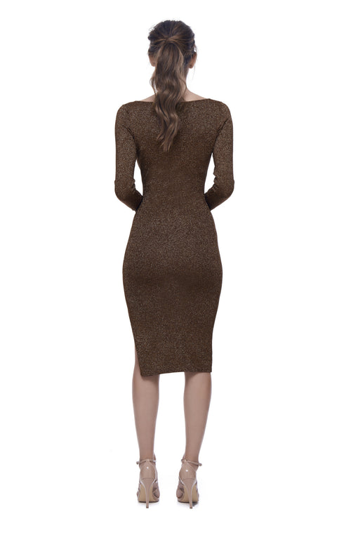 Astrologia Knit V-Neck Dress - Rust Metallic