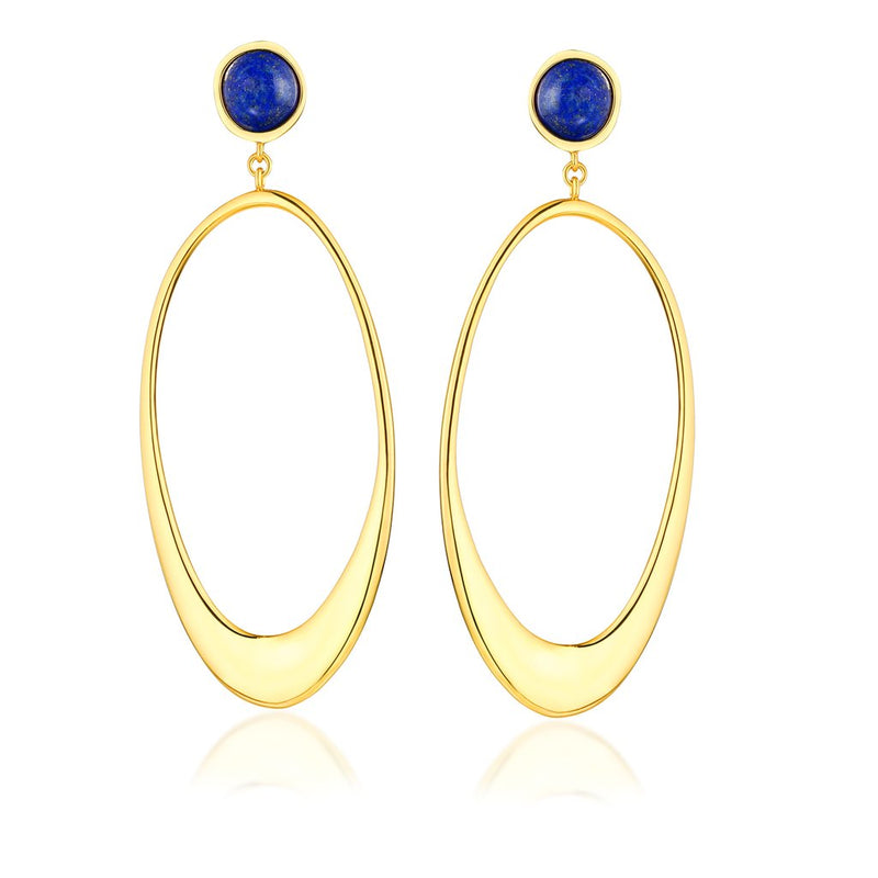 Blue Skies Earring-18K GOLD plating with Blue lapis gemstone