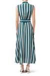 Dakota Sleeveless Shirt Dress - Teal Stripe