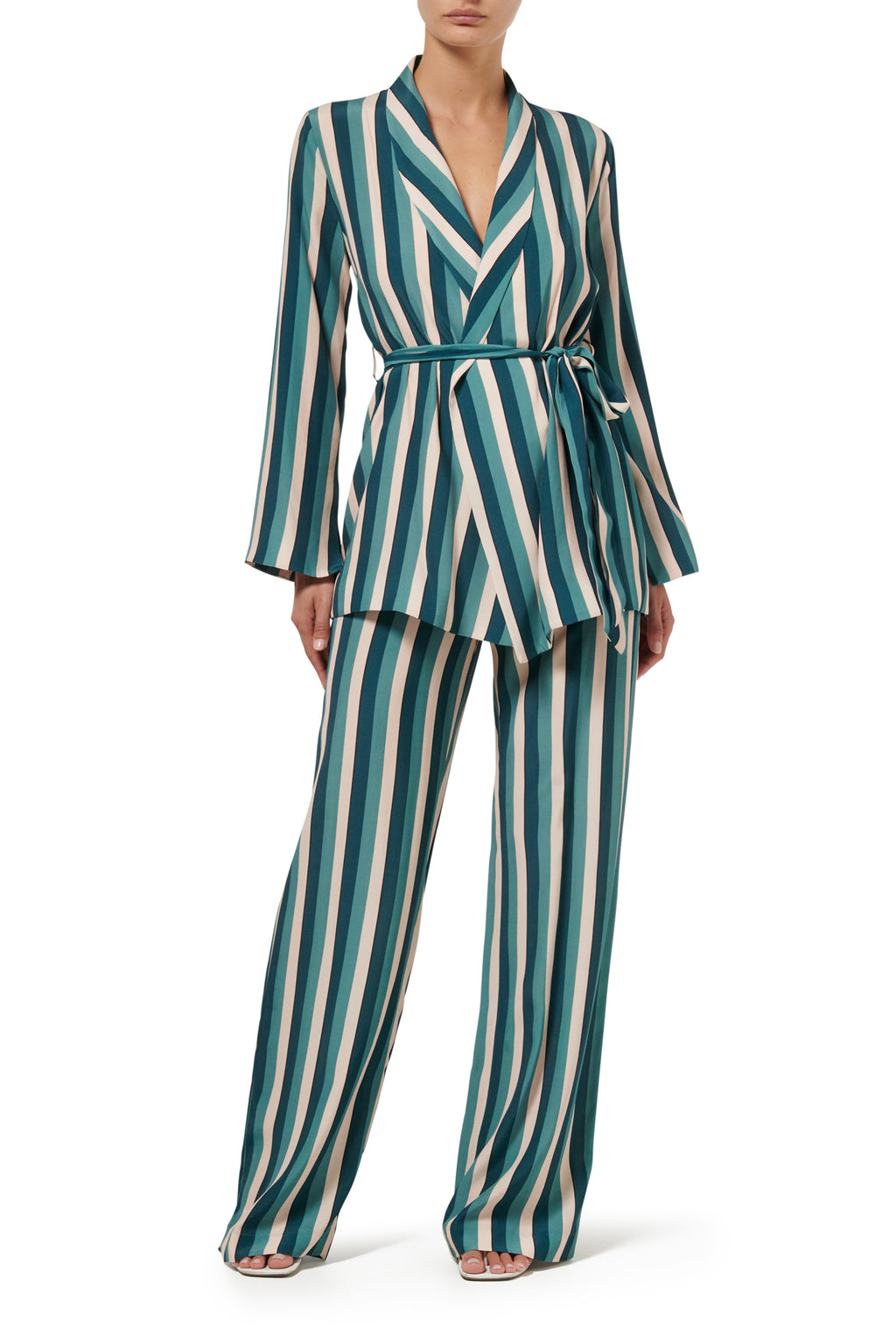 Dakota Lounge Jacket - Teal Stripe